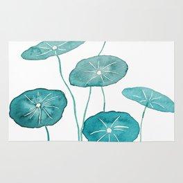 whorled umbrella plant leaf watercolor Rug