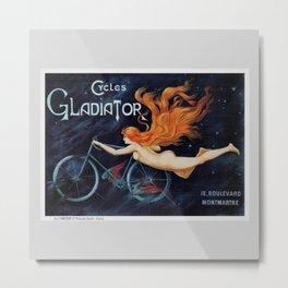 1905 Starry Night Gladiator Bicycles, Montmartre, Paris Vintage Advertisement Poster by George Massias Metal Print