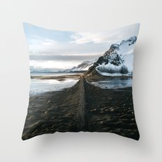 Mountain beach road in Iceland - Landscape Photography Throw Pillow