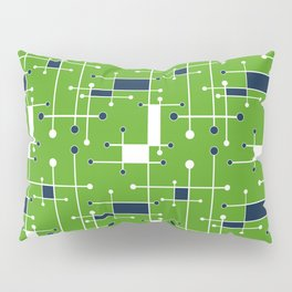 Intersecting Lines in Lime Green, Navy and White Pillow Sham