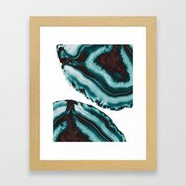 Turquoise Brown Agate #1 #gem #decor #art #society6 Framed Art Print