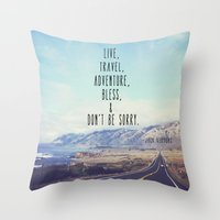 kerouac Throw Pillows featuring Kerouac - Travel Edition by Altgasse Designs