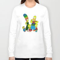 simpsons Long Sleeve T-shirts featuring The Simpsons by Luna Portnoi