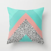 90s Throw Pillows featuring 90s Chevron by Zeke Tucker