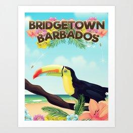 Bridgetown Barbados Toucan travel poster Art Print