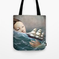 voyage Tote Bags featuring Voyage by Christian Schloe