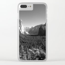 Yosemite Valley Tunnel View under Clear Skies (Black and White) Clear iPhone Case