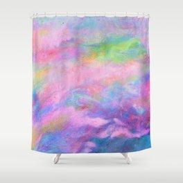 Pink Atmosphere, Subdued, Oil Pastel Drawing  Shower Curtain