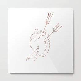 Cupid Heart in Pink Rose Gold Metal Print