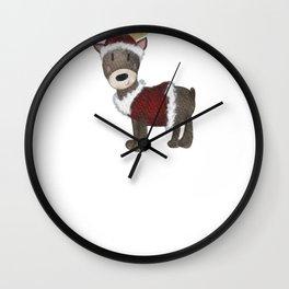 Reindeer Santa Watercolor Reindeer Wall Clock