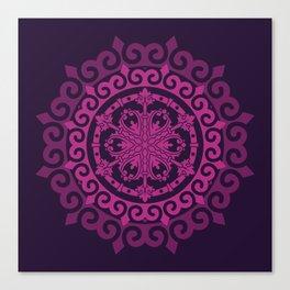 Pink Mandala on Dark Purple Canvas Print