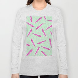 Modern neon pink green girly cute funny alligator pattern Long Sleeve T-shirt