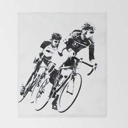 Bicycle racers into the curve... Throw Blanket