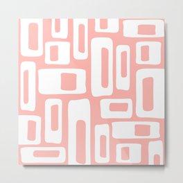Retro Mid Century Modern Abstract Pattern 335 Peach Metal Print