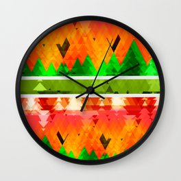 Autumn Abstract OrangeTrees themed pattern Design Wall Clock