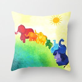 Elephant Rainbow Throw Pillow