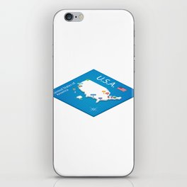 Isometric map of the USA - 3D Vector Illustration iPhone Skin