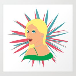 Portrait of a Surprised Blonde Art Print