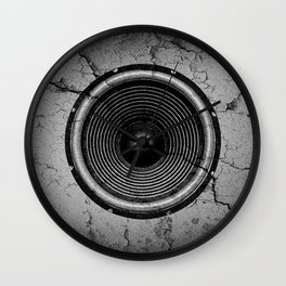 Music speaker on a cracked wall Wall Clock
