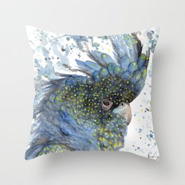 """Watercolor Painting of Picture """"Black Cockatoo"""" Throw Pillow"""