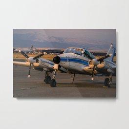 Sunset Plane Metal Print