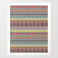 whisky Art Prints featuring WHISKY AZTEC  by Kiley Victoria