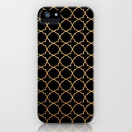 Elegant black faux gold glitter chic quatrefoil vector illustration iPhone Case