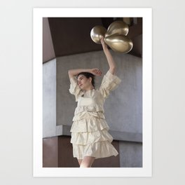 Holding up the balloons Art Print