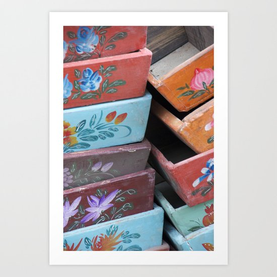 Painted wooden boxes Art Print