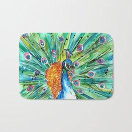Vibrant Peacock Bath Mat