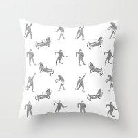 secret life Throw Pillows featuring The Secret Life of Bigfoot by Ann Pickard