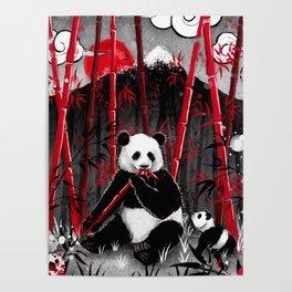 Red Bamboo Panda Poster