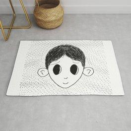 Cute Little Boy Simple Drawing Rug