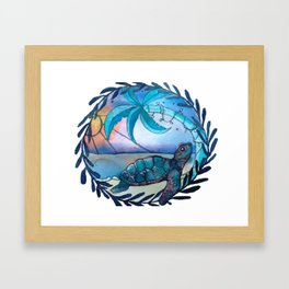 Tropicana sea turtle Framed Art Print