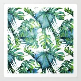 Blue Jungle Leaves, Monstera, Palm #society6 Art Print