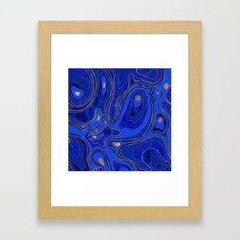 Marble Map - blue and gold Framed Art Print
