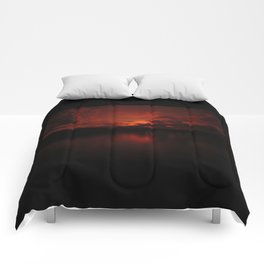 Dark Red Sunset in Montana, Water Reflection, Hues of Red, Sailor's Delight Comforters