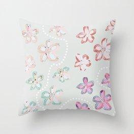 Pink Flower Trail Throw Pillow
