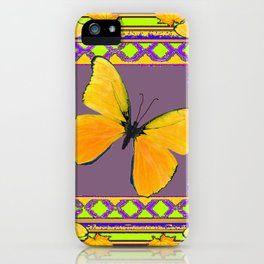 Decorative Black & Lime & Golden Butterfly Art iPhone Case