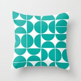 Mid Century Modern Geometric 04 Turquoise Throw Pillow