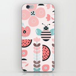 Bee in soft pink iPhone Skin