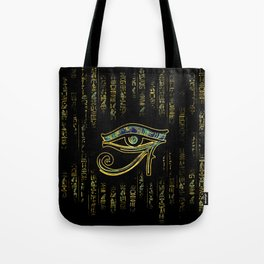 Egyptian Eye of Horus  on hieroglyphics gold and marble Tote Bag