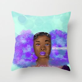 Cosmic Afro Puffs Throw Pillow