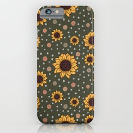 Green Sunflower Pattern iPhone Case