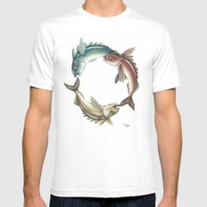 Circle of Fish MEDIUM White Mens Fitted Tee