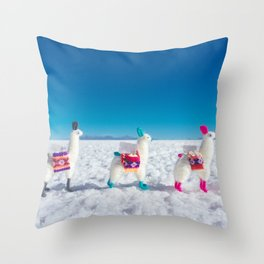 Llamas on the Bolivia Salt Flats Throw Pillow
