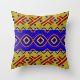 Ethnic African Knitted style design Throw Pillow