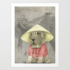 Shar Pei on the Great Wall Art Print