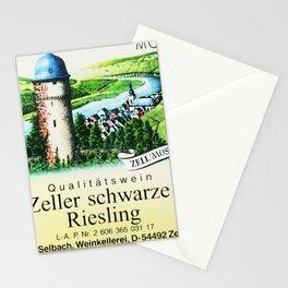 Vintage Zeller Schwarze Katz Riesling Black Cat Wine Bottle Mosel Label Print Stationery Cards