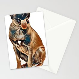 English Mastiff dog, 6 months old, sitting in front of white background        - Image Stationery Cards